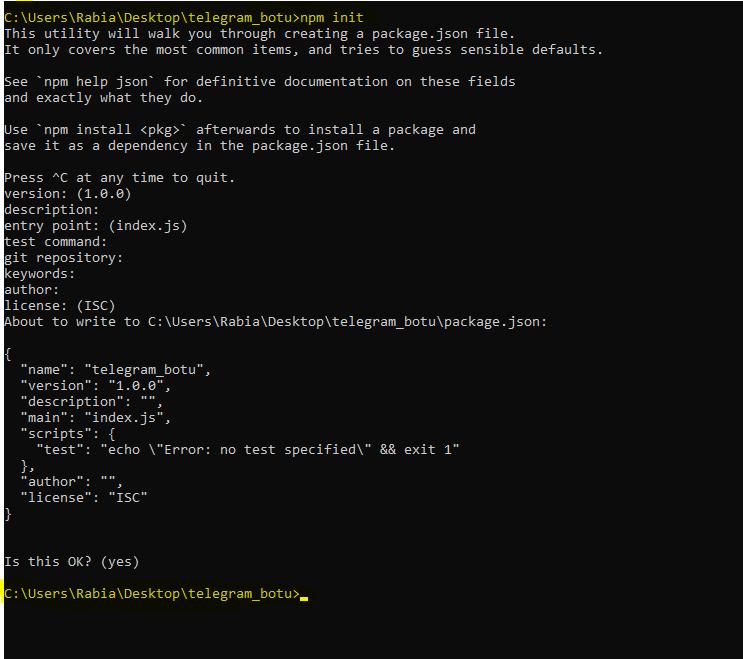 npm init. telegram botu.