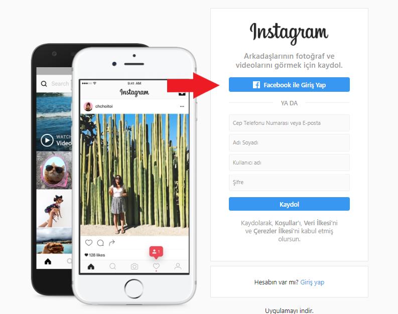 instagram facebook ile giriş yap