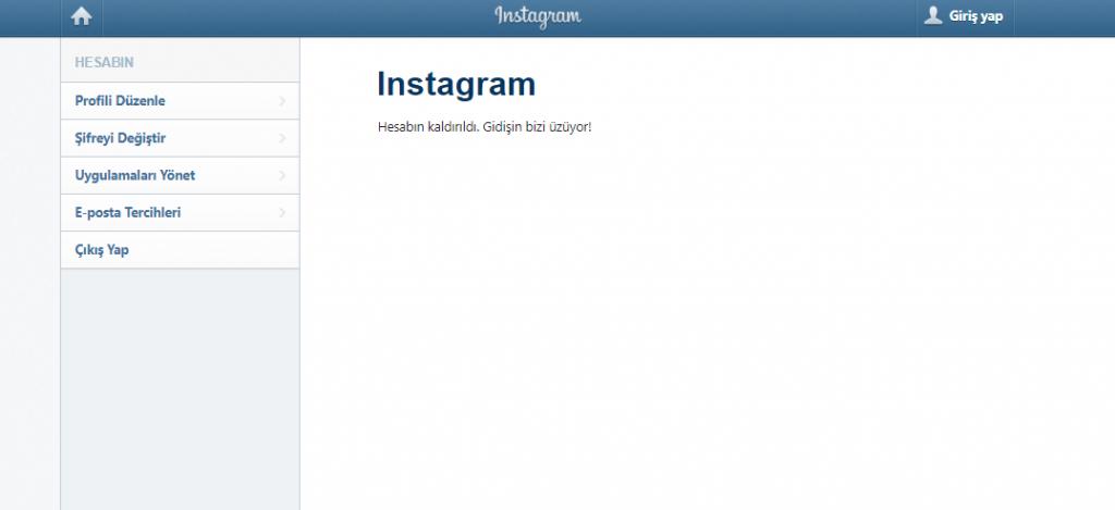 instagram hesap kaldırıldı