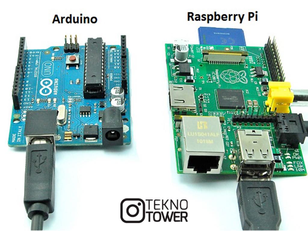 Arduino ve Raspberry Pi arasındaki görsel farklılıklar.