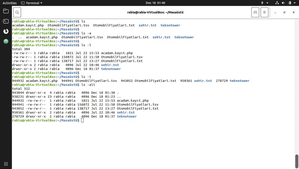 Linux komutları. ls parametreleri arasındaki farklılıklar. ls -ali