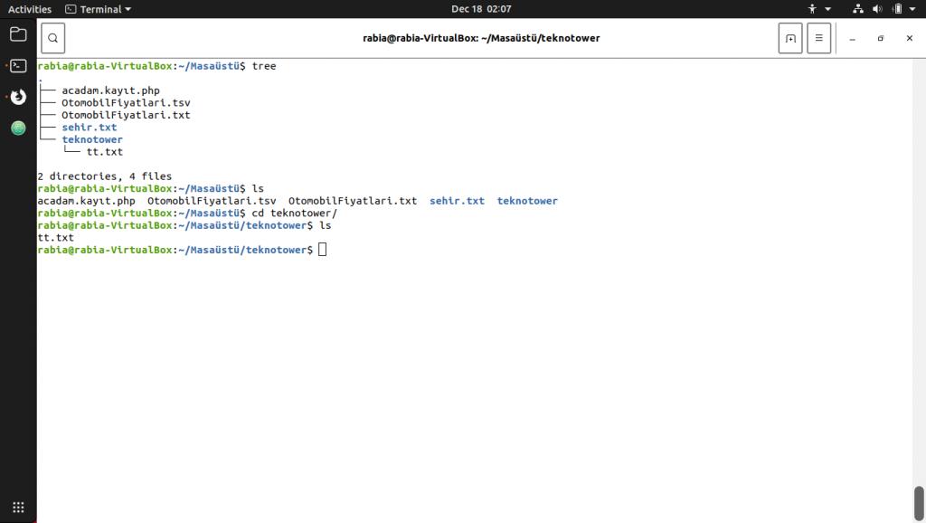 Linux komutları. Tree komutu ile ls komutu.