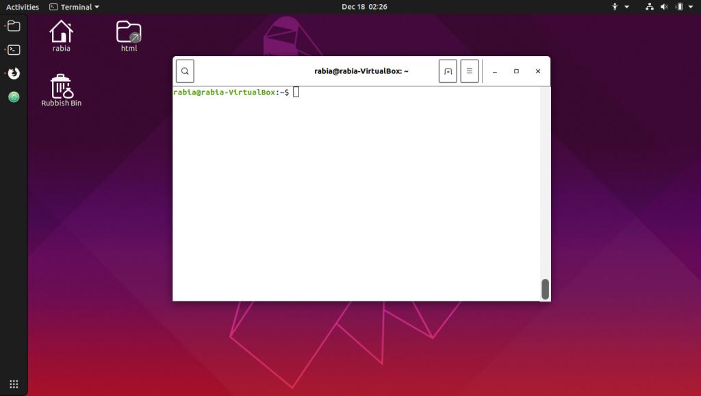 Linux komutları. Terminal ekranı.