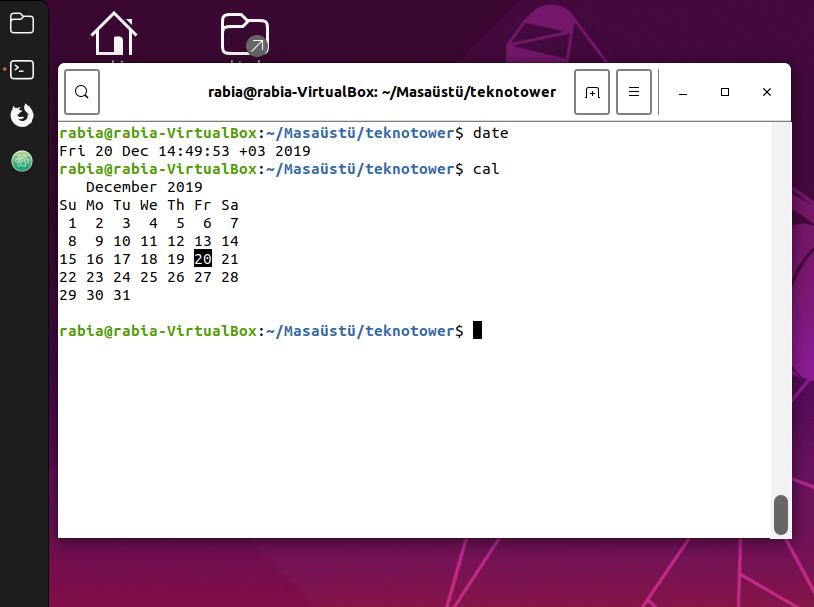 Linux komutları. Date ve cal komutları.