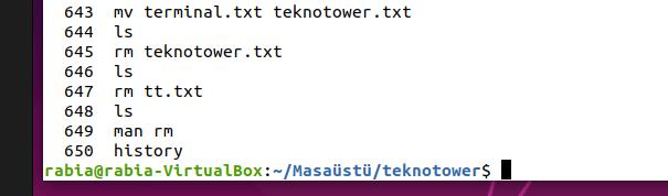 Linux komutları. History komutu ile daha önceden kullanılan komutları görebiliriz.