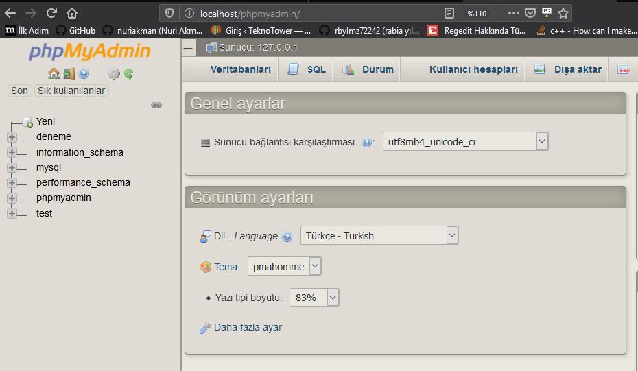 PhpMyAdmin giriş sayfası veritabanı dersleri teknotower