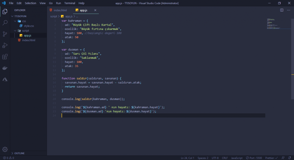 JavaScript Dersleri! #2 - Oyun Yapıyoruz 6 javascript dersleri