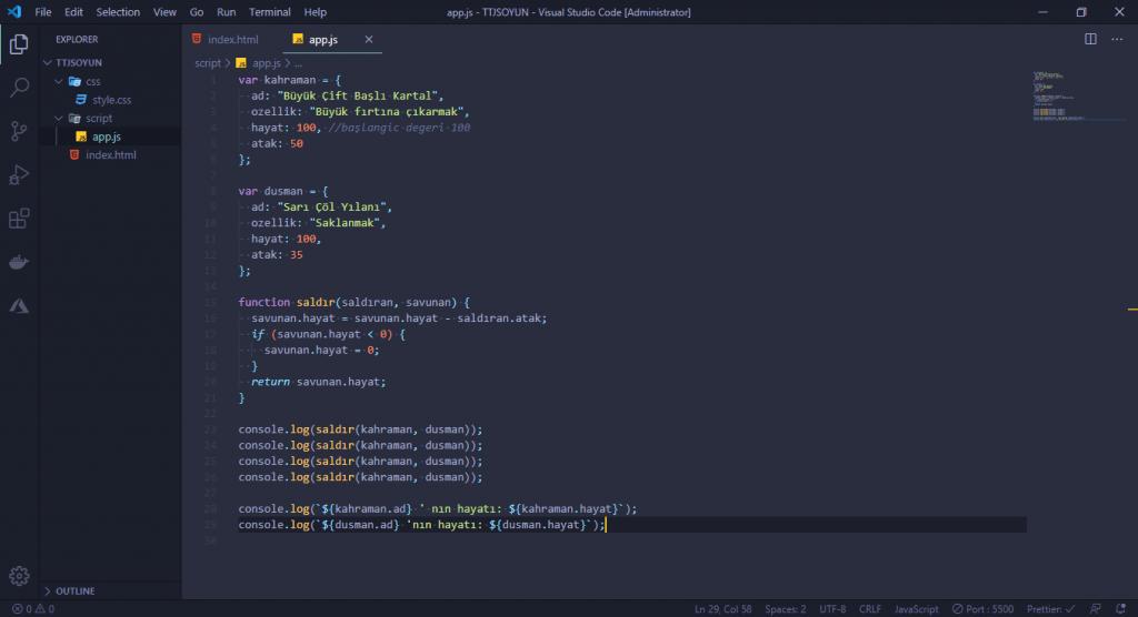 JavaScript Dersleri! #2 - Oyun Yapıyoruz 7 javascript dersleri