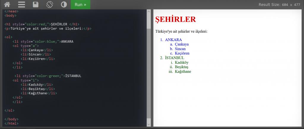 HTML DERSLERİ #2-iç içe liste