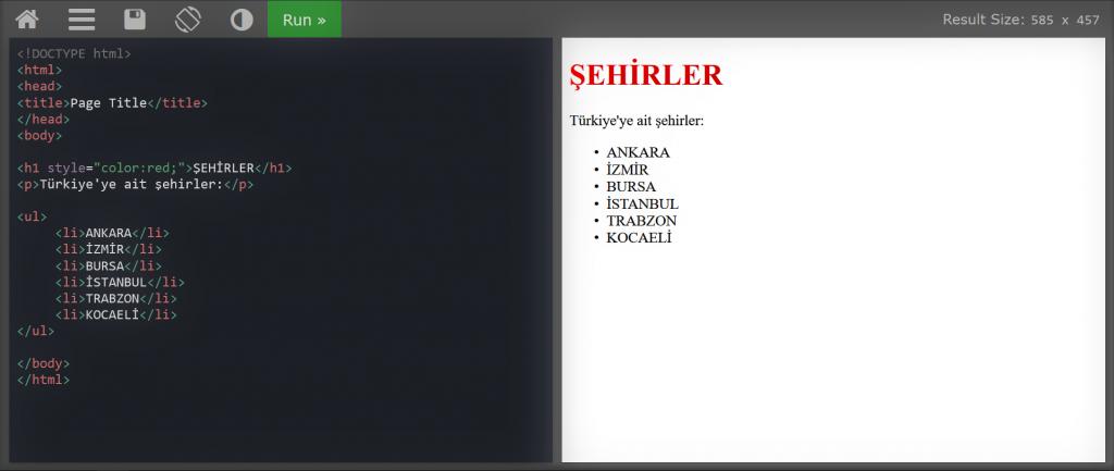 HTML DERSLERİ #2-ul